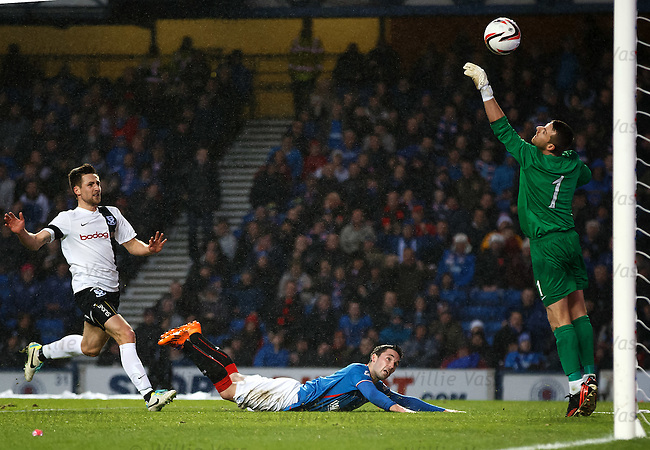 Nicky Clark's diving header crashes back off the bar