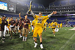 29 MAY 2011:  Erik Krum (35) of Salisbury University shows off the trophy after the game against Tufts University during the Division III Men's Lacrosse Championship held at M+T Bank Stadium in Baltimore, MD.  Salisbury defeated Tufts 19-7 for the national title. Larry French/NCAA Photos