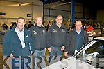 L-R Martin Byrne (Castlegregory) Motorsport Ireland scrutineer, pictured with competitors, Trevor Galvin and Vincent Hillard both Curraheen, Tralee and Frank Roberts (Killarney) also a scrutineer at the pre rally inspection at Kingdom Crash Repairs, Monavalley Ind Est, Tralee last Saturday.