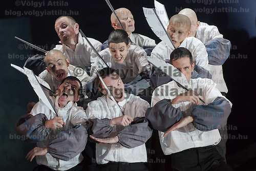 Members of the Yvette Bozsik company and Derevo company from Russia perform during a dress rehearsal for the world premiere of Infernal Ball during the Budapest Spring Festival in Budapest, Hungary on March 21, 2014. ATTILA VOLGYI