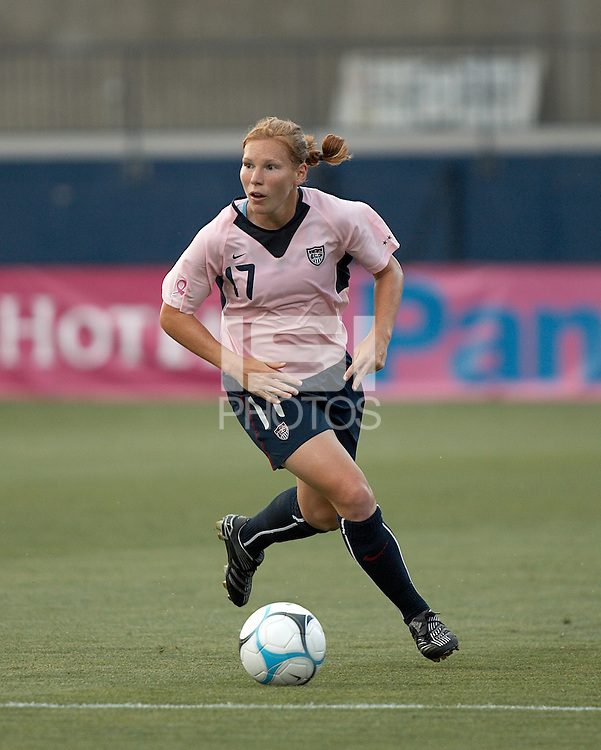 USA midfielder Lori Chalupny dribbles the ball.  U.S. beat Canada 6-2 at Pizza Hut Park in Frisco, TX on May 12, 2007.