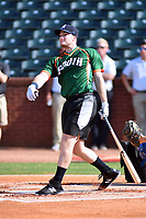 Casey Golden of the Asheville Tourists swings at a pitch during the home run derby as part of the All Star Game festivities at First National Bank Field on June 19, 2018 in Greensboro, North Carolina.(Tony Farlow/Four Seam Images)