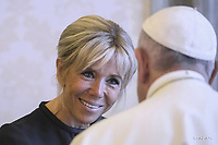 Brigitte Macron.Pope Francis meets French President Emmanuel Macron,during an audience in the Apostolic Palace on June 26, 2018. at the Vatican