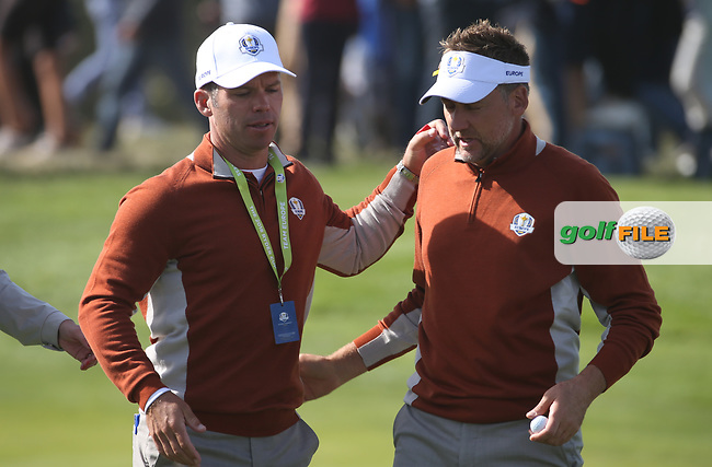 Paul Casey (Team Europe) with Ian Poulter (Team Europe)  during Saturday's Fourballs, at the Ryder Cup, Le Golf National, Île-de-France, France. 29/09/2018.<br /> Picture David Lloyd / Golffile.ie<br /> <br /> All photo usage must carry mandatory copyright credit (© Golffile | David Lloyd)