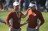 Paul Casey (Team Europe) with Ian Poulter (Team Europe)  during Saturday's Fourballs, at the Ryder Cup, Le Golf National, &Icirc;le-de-France, France. 29/09/2018.<br /> Picture David Lloyd / Golffile.ie<br /> <br /> All photo usage must carry mandatory copyright credit (&copy; Golffile | David Lloyd)