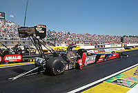Mar. 16, 2013; Gainesville, FL, USA; NHRA top fuel dragster driver David Grubnic during qualifying for the Gatornationals at Auto-Plus Raceway at Gainesville. Mandatory Credit: Mark J. Rebilas-