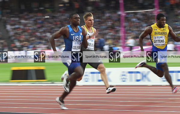 Christian Coleman (USA) in the 100m heats. IAAF World athletics championships. London Olympic stadium. Queen Elizabeth Olympic park. Stratford. London. UK. 04/08/2017. ~ MANDATORY CREDIT Garry Bowden/SIPPA - NO UNAUTHORISED USE - +44 7837 394578
