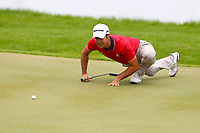 Jorge Campillo eyes up his putt on the 18th tee during the BMW PGA Golf Championship at Wentworth Golf Course, Wentworth Drive, Virginia Water, England on 28 May 2017. Photo by Steve McCarthy/PRiME Media Images.