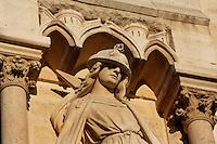 The synagogue, right buttress of the central portal of the Last Judgement, West façade, 19th century, during the restoration by Viollet-le-Duc, Notre Dame de Paris, 1163 ? 1345, initiated by the bishop Maurice de Sully, Ile de la Cité, Paris, France. Picture by Manuel Cohen