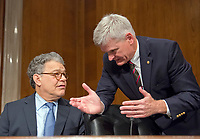 United States Senators Al Franken (Democrat of Minnesota), left, and Bill Cassidy (Republican of Louisiana) in discussion prior to the start of the US Senate Committee on Health, Education, Labor, and Pensions meeting on Capitol Hill in Washington, DC on Thursday, July 13, 2007<br /> Credit: Ron Sachs / CNP /MediaPunch