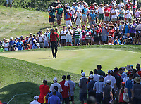 Potomac, MD - July 1, 2018: Tiger Woods on the seventh green during final round at the Quicken Loans National Tournament at TPC Potomac  in Potomac, MD, July 1, 2018.  (Photo by Elliott Brown/Media Images International)