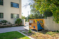 Newcomb Hall. One of many dumpsters painted by students as part of the Dumpster Art Project, sponsored by the Office of Sustainability. Photographed June 8, 2018.<br /> (Photo by Marc Campos, Occidental College Photographer)
