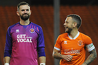 Blackpool's Jay Spearing shares a joke with Mark Howard before kick-off<br /> <br /> Photographer Kevin Barnes/CameraSport<br /> <br /> Emirates FA Cup Third Round Replay - Blackpool v Reading - Tuesday 14th January 2020 - Bloomfield Road - Blackpool<br />  <br /> World Copyright © 2020 CameraSport. All rights reserved. 43 Linden Ave. Countesthorpe. Leicester. England. LE8 5PG - Tel: +44 (0) 116 277 4147 - admin@camerasport.com - www.camerasport.com