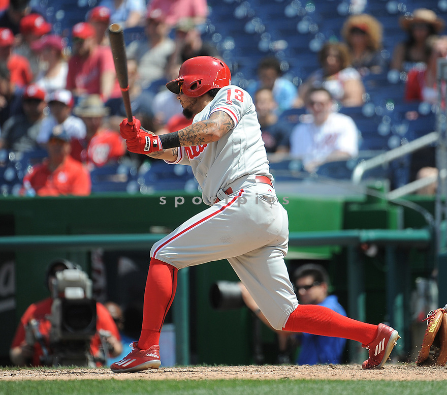 Philadelphia Phillies Freddy Galvis (13) during a game against the Washington Nationals on June 11, 2016 at Nationals Park in Washington, DC. The Nationals beat the Phillies 8-0.