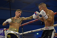 Billy Allington (gold waistband) defeats Gyula Rozsas during a Boxing Show at Bracknell Leisure Centre on 8th July 2018