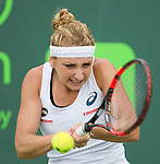 March 24 2016:  Timea Bacsinszky (SUI) defeats Margarita Gasparyan (RUS) by 6-3, 6-1, at the Miami Open being played at Crandon Park Tennis Center in Miami, Key Biscayne, Florida.
