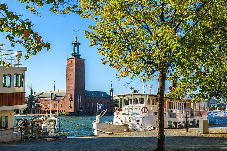 Stockholms stadshus vid Riddarfjärden med båtar och träd