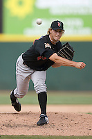 Indianapolis Indians relief pitcher Jonah Bayliss delivers the ball to the plate versus the Charlotte Knights at Knights Stadium in Fort Mill, SC, Sunday, August 13, 2006.