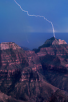 749220217v during a monsoon summer lightning strikes the weather eroded formations along the north rim of grand canyon national park in northern arizona
