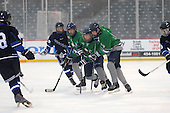 Notre Dame Fighting Irish of Batavia forward Spencer Misiak (17), defensemen Kris Bank (14) and forward Brad Misiak (16) during a varsity ice hockey game against the Brockport Blue Devils during the Section V Rivalry portion of the Frozen Frontier outdoor hockey event at Frontier Field on December 22, 2013 in Rochester, New York.  (Copyright Mike Janes Photography)