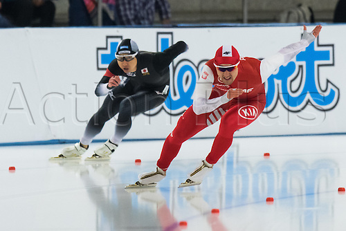 January 29th 2017, Sportforum, Berlin, Germany; ISU Speed Skating World Cup;  ISU Speed Skating World Cup , 500m Division A; Artur Nogal (POL), Yuya Oikawa (JPN)
