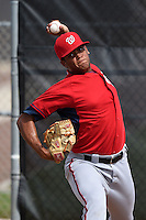 GCL Nationals pitcher Yorlin Reynoso (54) throws a bullpen before a game against the GCL Marlins on June 28, 2014 at the Carl Barger Training Complex in Viera, Florida.  GCL Nationals defeated the GCL Marlins 5-0.  (Mike Janes/Four Seam Images)