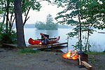 Campsite on Kezar Lake, Lovell, Oxford County, Maine, USA.
