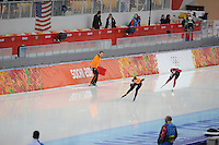 OLYMPICS: SOCHI: Adler Arena, 09-02-2014, 3000 m Ladies, Johan de Wit (trainer/coach), Annouk van der Weijden (NED), Bente Kraus (GER), ©foto Martin de Jong