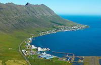 Neskaupstaður, Síldarvinnslan og Naustahvammur fremst séð til austurs, Fjarðabyggð / Neskaupstadur, Sildarvinnslan fishprocessing plant in foreground viewing east. Fjardabyggd.