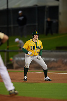 Siena Saints Jake Hall (14) leads off during a game against the UCF Knights on February 14, 2020 at John Euliano Park in Orlando, Florida.  UCF defeated Siena 2-1.  (Mike Janes/Four Seam Images)