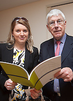 ***NO FEE PIC ***<br /> 23/04/2015<br /> (L to r) Anna Wiszowata Bank of Ireland Corporate Banking &amp; Brian Richardson Irish Maritime Development Office (IMDO)<br /> during the  launch by the Irish Maritime Development Office (IMDO) of its Irish Maritime Transport Economist report at the Morrison Hotel , Dublin.<br /> Photo:  Gareth Chaney Collins