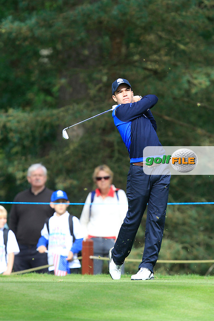 Ivan Cantero Gutierrez (ESP) on the 3rd tee of the Mixed Fourballs, puts to go two up during the 2014 JUNIOR RYDER CUP at the Blairgowrie Golf Club, Perthshire, Scotland. <br /> Picture:  Thos Caffrey / www.golffile.ie