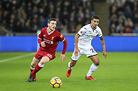 Andrew Robertson of Liverpool  turns Kyle Naughton of Swansea City during the Premier League match between Swansea City and Liverpool at the Liberty Stadium, Swansea, Wales on 22 January 2018. Photo by Mark Hawkins / PRiME Media Images.