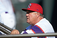 Winston-Salem Rayados coach Tommy Thompson (40) watches from the dugout during the game against the Lynchburg Hillcats at BB&T Ballpark on June 23, 2019 in Winston-Salem, North Carolina. The Hillcats defeated the Rayados 12-9 in 11 innings. (Brian Westerholt/Four Seam Images)