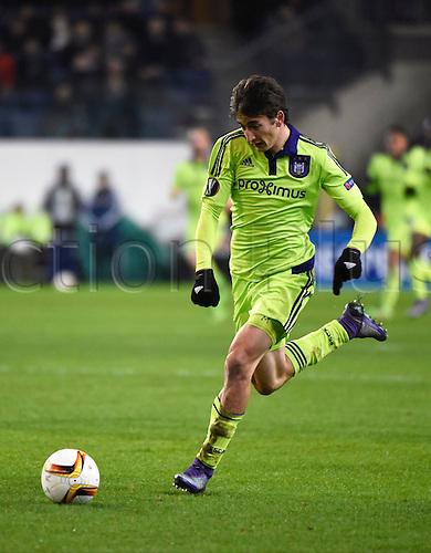 18.02.2016. Anderlecht, Brussels, Belgium. UEFA Europa League football. Anderlecht versus Olympiakos.  Djuricic Filip midfielder of Rsc Anderlecht