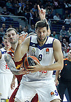 Real Madrid's Felipe Reyes (f) and Galatasaray Odeabank Istambul's Vladimir Micov during Euroleague, Regular Season, Round 5 match. November 3, 2016. (ALTERPHOTOS/Acero)