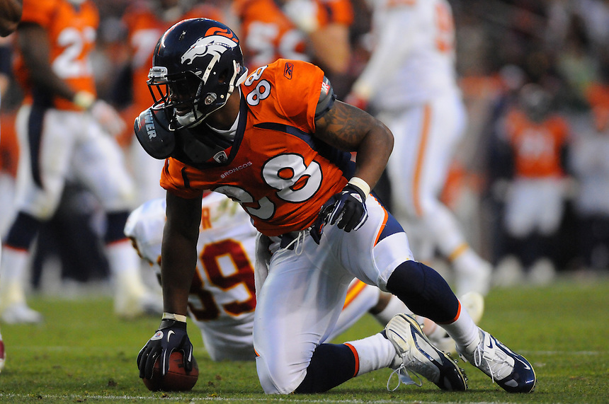 14 NOVEMBER 2010:   Broncos wide receiver  Demaryius Thomas during a regular season National Football League game between the Kansas City Chiefs and the Denver Broncos at Invesco Field at Mile High in Denver, Colorado. The Broncos beat the Chiefs 49-29.