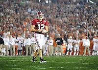 Jan 7, 2010; Pasadena, CA, USA; Alabama Crimson Tide quarterback Greg McElroy (12) against the Texas Longhorns during the 2010 BCS national championship game at the Rose Bowl. Alabama defeated Texas 37-21. Mandatory Credit: Mark J. Rebilas-