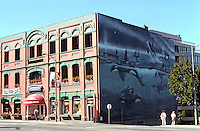 "Victoria: McQuade's Ship Chandlers. Architecture John Teague. Mural ""A 5-Pod"" by Robert Wyland.  Foot of Yates St.  Photo '88."