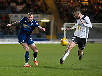 10th March 2020; Dens Park, Dundee, Scotland; Scottish Championship Football, Dundee FC versus Ayr United; Daniel Harvie of Ayr United cannot stop Christie Elliott of Dundee crossing the ball
