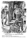 """Strike-maker or Strike-breaker? John Bull. """"What's that for?"""" Labour. """"To control my house and protect you."""" John Bull. """"I see. (Aside) I hope it won't be the other way round."""""""