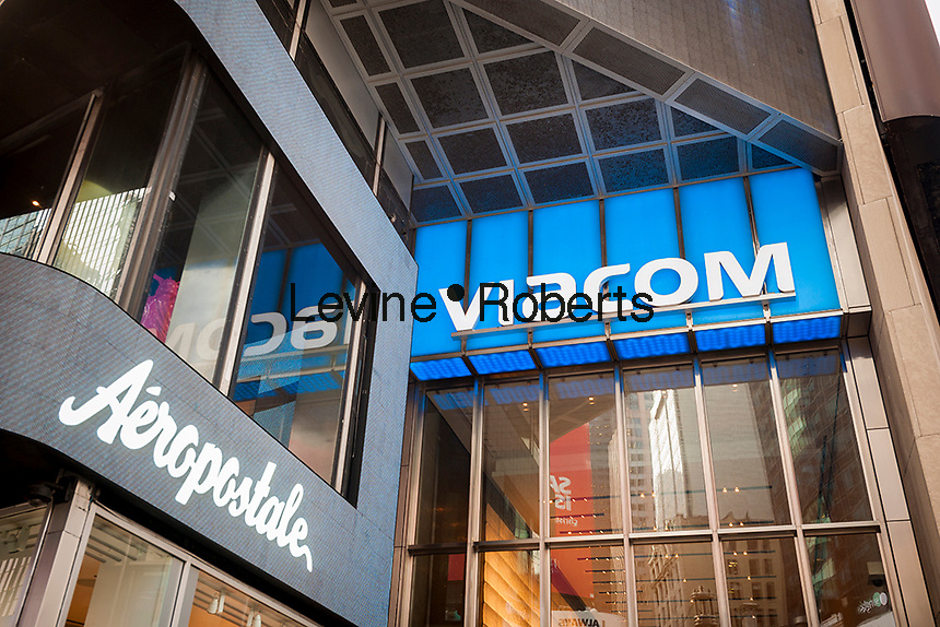 Viacom headquarters in Times Square in New York on Tuesday, February 9, 2016. The media conglomerate announced quarterly revenue that missed analysts' expectations citing a drop in advertising and weak hit movies. Viacom owns MTV, Nickelodeon, Comedy Central and Paramount.  (© Richard B. Levine)