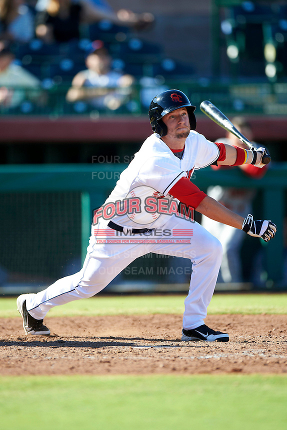 Scottsdale Scorpions outfielder Tyler Holt #17, of the Cleveland Indians organization, during an Arizona Fall League game against the Surprise Saguaros at Scottsdale Stadium on October 16, 2012 in Scottsdale, Arizona.  Surprise defeated Scottsdale 11-3.  (Mike Janes/Four Seam Images)