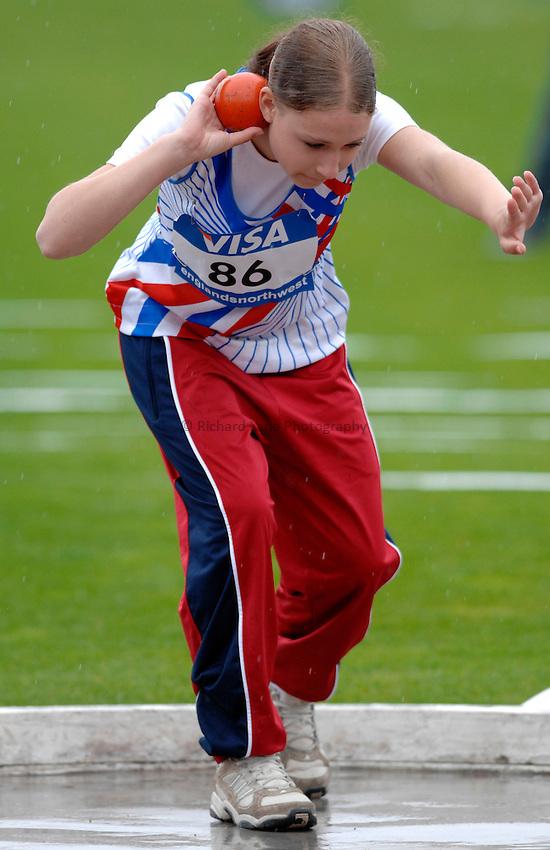 Photo: Richard Lane..VISA Paralympic World Cup 2007. Athletics. 13/05/2007. .Nela Zabloudilova of the Czech Republic in the women's F37 shot put.