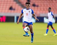 HOUSTON, TX - FEBRUARY 3: Melchie Dumonay #6 of Haiti controls the ball during a game between Panama and Haiti at BBVA Stadium on February 3, 2020 in Houston, Texas.