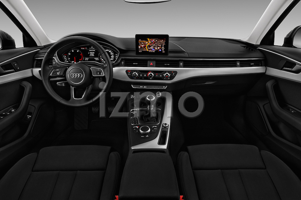 Stock photo of straight dashboard view of 2017 Audi A4 Sport 5 Door Wagon Dashboard