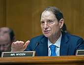 United States Senator Ron Wyden (Democrat of Oregon), Ranking Member, US Senate Committee on Finance, asks questions of Charles P. Rettig who is giving testimony on his nomination to be Commissioner Of Internal Revenue (IRS) on Capitol Hill in Washington, DC on Thursday, June 28, 2018. <br /> Credit: Ron Sachs / CNP