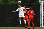 20 September 2009: North Carolina's Amber Brooks (22) heads the ball. The University of North Carolina Tar Heels played the Auburn University Tigers to a 0-0 tie after overtime at Koskinen Stadium in Durham, North Carolina in an NCAA Division I Women's college soccer game.