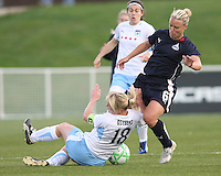 Lori Lindsey of the Washington Freedom clashes with Frida Ostberg of the Chicago Red Stars during a WPS match at Maryland Soccerplex on April 11 2009, in Boyd's, Maryland.  The game ended in a 1-1 tie.