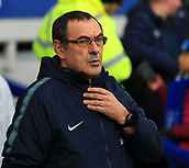 17th March 2019, Goodison Park, Liverpool, England; EPL Premier League Football, Everton versus Chelsea; Chelsea manager Maurizio Sarri looks on from the touchline